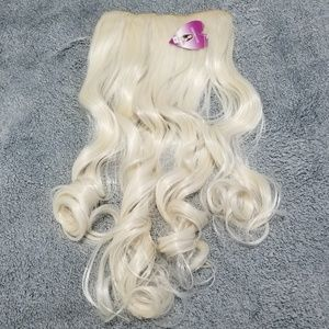"""White Hair Extensions Clip-Ins 24"""" Long Curly"""
